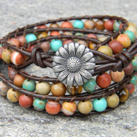 Earthy Stone and Turquoise Tripple Leather Wrap