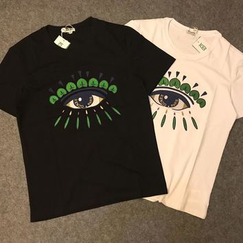 hcxx 1048 kenzo Gold thread and silver thread eye embroidery short sleeves T-Shirt