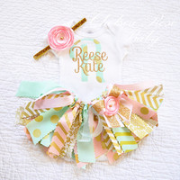 3 piece set~ Pink, Mint and Gold Fabric tutu outfit~ newborn tutu set~ baby take home outfit~ Pink Mint Gold Birthday~ baby girl