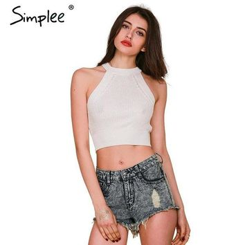 DCCKHY9 Simplee Apparel Brandy Melville off shoulder knitted bustier crop top Women round neck elastic tube tank tops Beach sexy camis