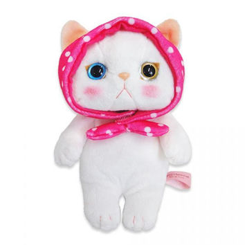 Choo Choo Cat Plush Doll with Pink Hood (S / White)