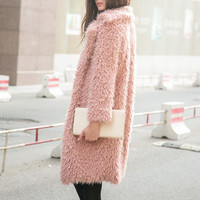Pink Faux Fur Coat