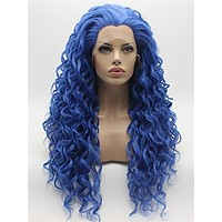 Long Lovely Midnight Blue Curly Synthetic Lace Front Wig