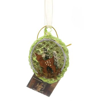 Holiday Ornaments FAWN IN PINECONE INDENT Glass Vintage Lg4404 Green