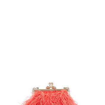 Kate Spade Flamingo Clasp Clutch Pink Feathers ONE
