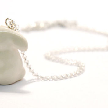 porcelain and silver bunny necklace, short chain