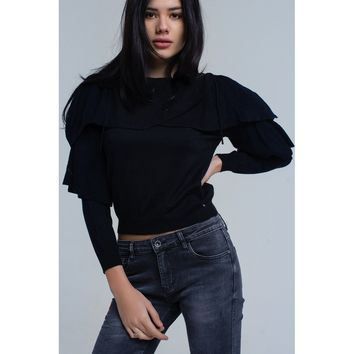 Sweater with off the shoulder detail and ruffle detail in black