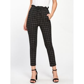 Black High Waist Plaid Tapered Carrot Crop Pant