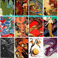 vintage medieval chinese dragons clip art collage sheet 2 x 3 inch graphics images digital download craft downloadable image printables