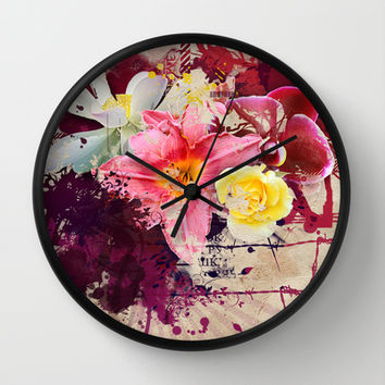 Country Floral Wall Clock by Allison Reich