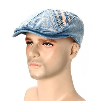Mens Vintage Cotton Cowboy Berets Hat Casual Outdoor Sports Flat Peaked Caps