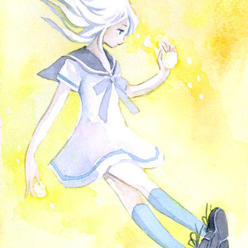 "Original Watercolor Drawing  5x7 ""てのひらの酸味""   sourness on her hand  - Original picture,girl illustration,fantasy illustration"