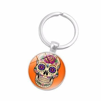 Candy colors Trendy festival gift vintage creative crystal skull golden sugar skull keychain Day of The Dead jewelry key chain