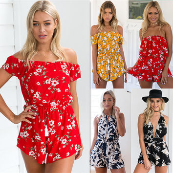 Off Shoulder Ruffles Print Ladies Jumpsuits Women High Waist Chiffon Sexy Playsuits Leotard Boho Summer Beach Romper  LT02