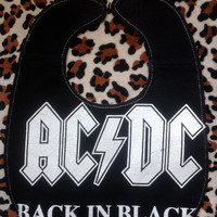 ACDC - Upcycled Rock Band T-shirt Baby Bib - OoAK