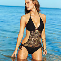 Ralph Lauren Blue Label Swimsuit, Halter Crochet Monokini One-Piece - Womens Junior Swimwear - Macy's