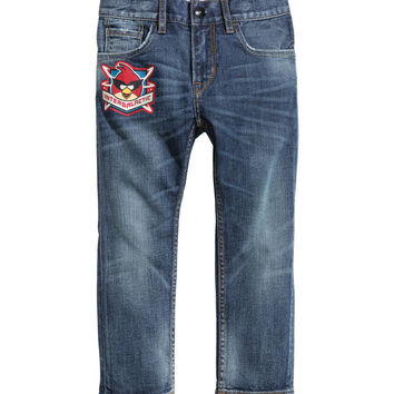 H&M - Slim Jeans - Denim blue/Angry Birds - Kids