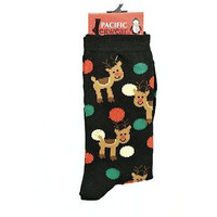Pacific Leg Wear Christmas Rudolf Dots Socks Womens Hosiery Black Size 4-10