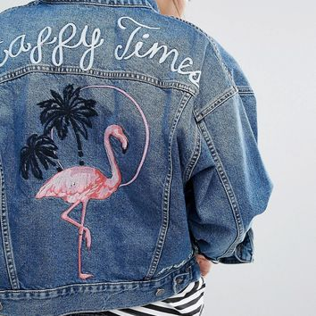 Pull&Bear Denim Jacket In Vintage Wash With Flamingo Motif