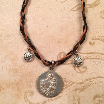 Leather Braided Necklace With Saint Anthony