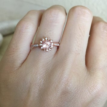 Rose Gold Morganite Ring- Promise Ring- Wedding Ring- Halo Ring- Engagement Ring- Bridal Ring- Rose Gold Ring- Gemstone Ring- Morganite Ring