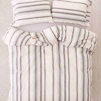 Rey Yarn-Dyed Stripe Duvet Cover | Urban Outfitters