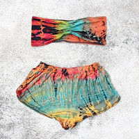 Tie Dye Tops and Shorts Bikini Two Piece Sexy Hippie Boho Beachwear Beach Fashion Summer Clothing BK13