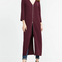 Burgundy V-Neckline Front Zipper-Up Slits Three Quarter Sleeve Maxi Dress