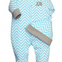 Baby Boy Chevron Blue Footie Sleeper and Hat by Offspring