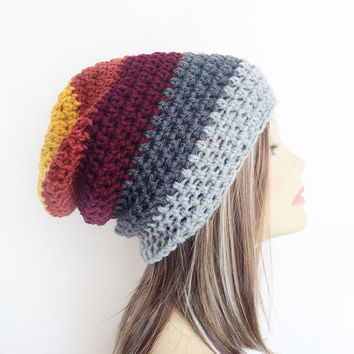 FREE SHIPPING - Crochet, Supa Slouch, Beanie, Hat - Unisex, Mens, Womens - Yellow, Gold, Orange, Maroon, Dark Red, Charcoal Gray, Gray
