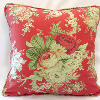"""Red Cottage Floral Throw Pillow - NEW Waverly Santctuary Rose 18"""" Square Insert Included Ready Ship Complete Cushion Vintage Yellow Roses"""