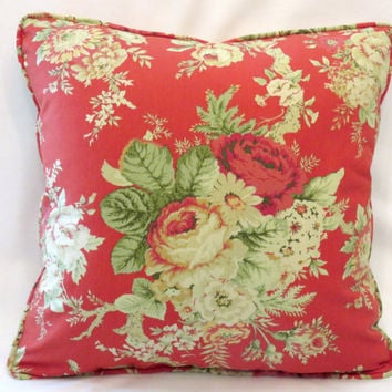 "Red Cottage Floral Throw Pillow - NEW Waverly Santctuary Rose 18"" Square Insert Included Ready Ship Complete Cushion Vintage Yellow Roses"