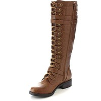 Fashion Women Lace Up Riding Boots Chunky Low Heel Knee High Boots Buckle Side Zipper Up Winter Shoes