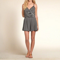 Wrap Front Striped Romper