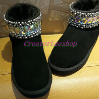 Black Leather Boots Warm Winter Boots Unique Bling Women Boots,AB color Rainbow Bling Rhinestone Glitter Boots Swarovski Stones