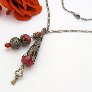 Blood drops - brass pendant necklace with red beads, vintage filigree cone and key charm