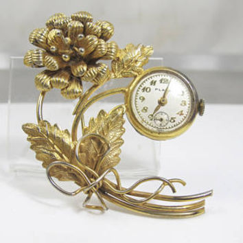 Large Flower Brooch Watch, Retro Women's Lapel Watch Pin, Plaza Swiss Made Vintage Watches
