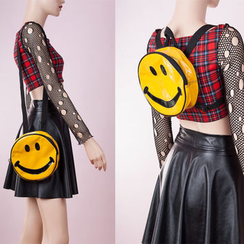90s Smiley Face PVC Vinyl Purse Backpack