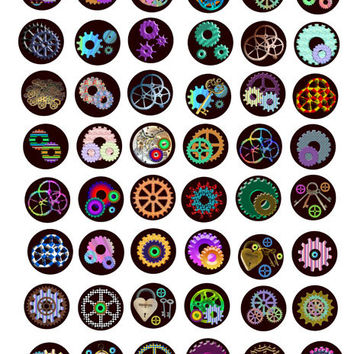 metal gears keys Steampunk 1 inch circles digital download collage sheet  images for jewelry pendants, charms, pins magnets bezels