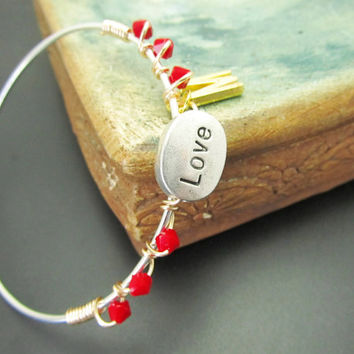 Personalized LoVE Bangle Bracelet, Sterling Silve, LoVE Friendship, Mothers Gift, Christmas Red Bracelet, Valentine ,  Stacking Bangles