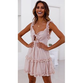 VOZRO 2019 Temperament Lotus Leaf Edge Chalaza Hollow Out Sexy Summer Party Lace Dress Women