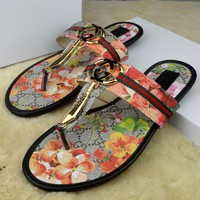 GUCCI Women Casual Fashion Flower Print Sandal Slipper Shoes4