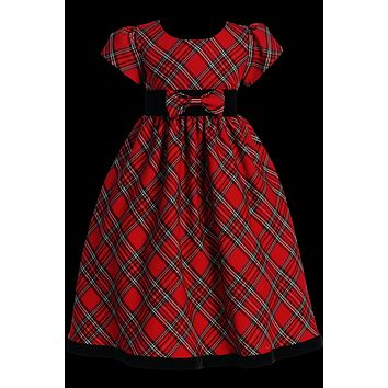 Red & Green Plaid Girls Holiday Dress w. Velvet Trim 4-12