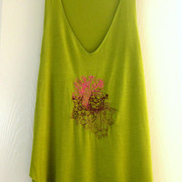 Women's Embroidered Green Summer Loose Tank Top