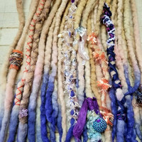 Wool Dreadlock Set of 18 Double Ended Dreads READY TO SHIP