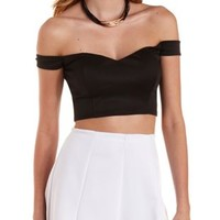Black Off-The-Shoulder Sweetheart Crop Top by Charlotte Russe