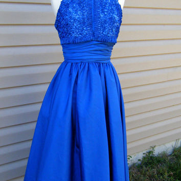 Vintage Mike Benet Royal Blue Halter Top Dress Size Extra Small