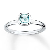 Stackable Aquamarine Ring Sterling Silver