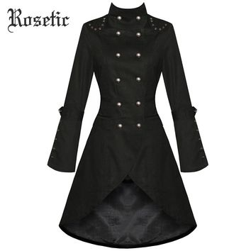 Rosetic Gothic Coat Women Black Autumn Turtleneck Double Vintage Buttons Breasted Asymmetrical Outwear Goth Female Coats Winter