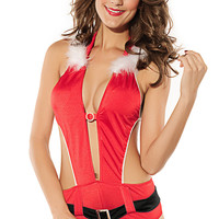 Red Backless Cut-Out Santa Lingerie Costume